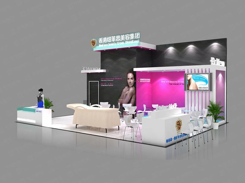 """纽菲斯企业介绍: 香港纽菲思国际集团公司本着""""客户第一,诚信至上""""的原则,与多家企业建立了长期的合作关系。 展台创意说明: 契合纽菲思品牌形象和产品特性,采用立体结构,再搭配灯具灯光的效果,衬托出展位绚丽、科技的氛围,突出一种现代、浪漫的时尚品味。 色彩搭配: 用多种颜色搭配,着重突出品牌和产品的展示,使整个展位时尚潮流又经典难忘。 展台适用行业: 适合于家电、医药、礼品、家具、电子等行业的产品,展示陈列道具改变则可应用更多领域。 毕加服务: 毕加展览是历届美博会特装指定搭建商,专"""